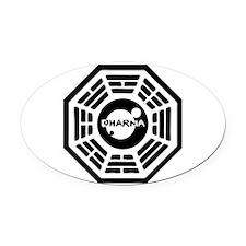 3-dharma-karma.png Oval Car Magnet