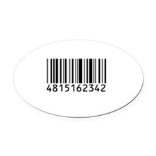 barcode-w.png Oval Car Magnet
