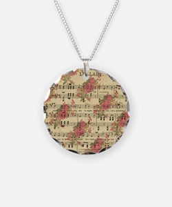 Vintage Music Sheet With Roses Necklace