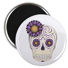 Purple Flower Skull Magnets