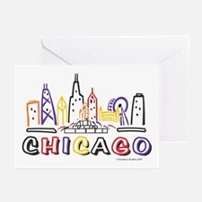 Cute Chicago Skyline Greeting Cards (Pk of 10)