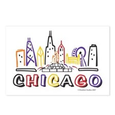 Cute Chicago Skyline Postcards (Package of 8)