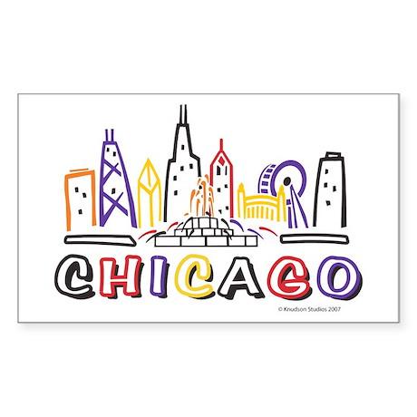 Cute Chicago Skyline Sticker (Rectangle)