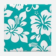 Turquoise Hawaiian Hibiscus Tile Coaster