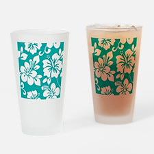 Turquoise Hawaiian Hibiscus Drinking Glass