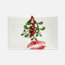 Mistletoe and Red Lipstick Kiss Print Magnets