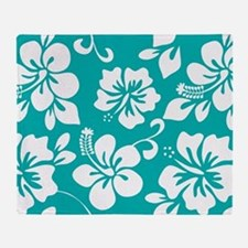 Turquoise Hawaiian Hibiscus Throw Blanket