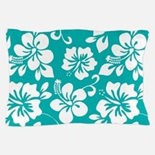 Turquoise Hawaiian Hibiscus Pillow Case