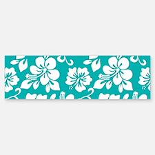 Turquoise Hawaiian Hibiscus Bumper Bumper Stickers