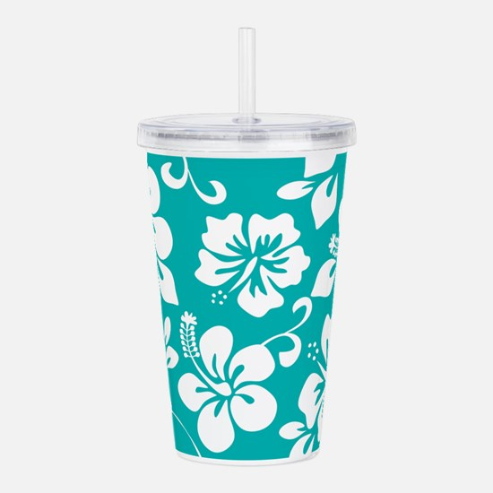 Turquoise Hawaiian Hibiscus Acrylic Double-wall Tu