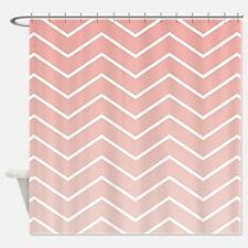 Blush Pink Ombre Chevron Pattern Shower Curtain