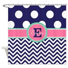 Cute Chevron navy blue Shower Curtain