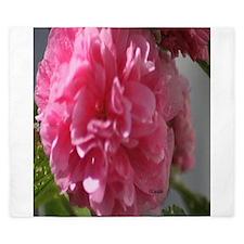 Double Pink Hollyhock Flower Bloom King Duvet
