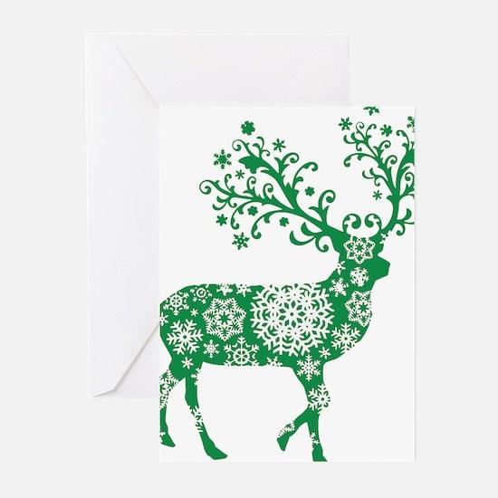 Snowflake Reindeer Silhouette - Green Greeting Car