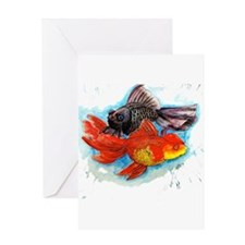 Black and goldfish Greeting Cards