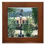 Pink House Art Framed Tile