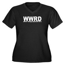 WWRD? Women's Plus Size V-Neck Dark T-Shirt