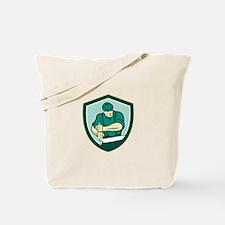 Lumberjack Crosscut Saw Shield Retro Tote Bag
