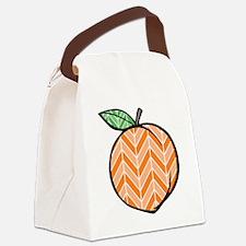 Chevron Peach Canvas Lunch Bag