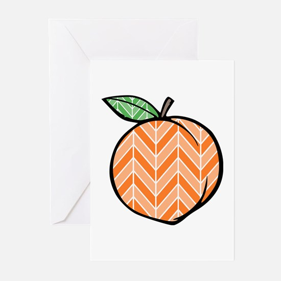 Chevron Peach Greeting Cards