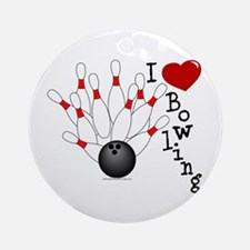 I Love Bowling Ornament (Round)
