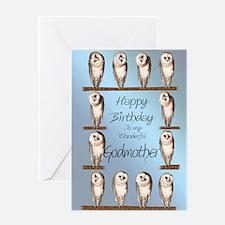 For godmother, curious owls birthday card. Greetin