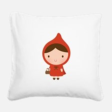 Cute Little Red Riding Hood Girl Square Canvas Pil