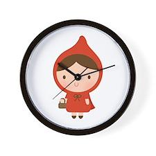 Cute Little Red Riding Hood Girl Wall Clock