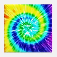 Rainbow Tie Dye Tile Coaster