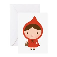 Cute Little Red Riding Hood Girl Greeting Cards