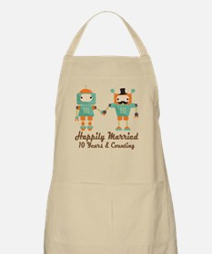 10th Anniversary Vintage Robot Couple Apron