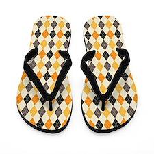Halloween Argyle Pattern Flip Flops