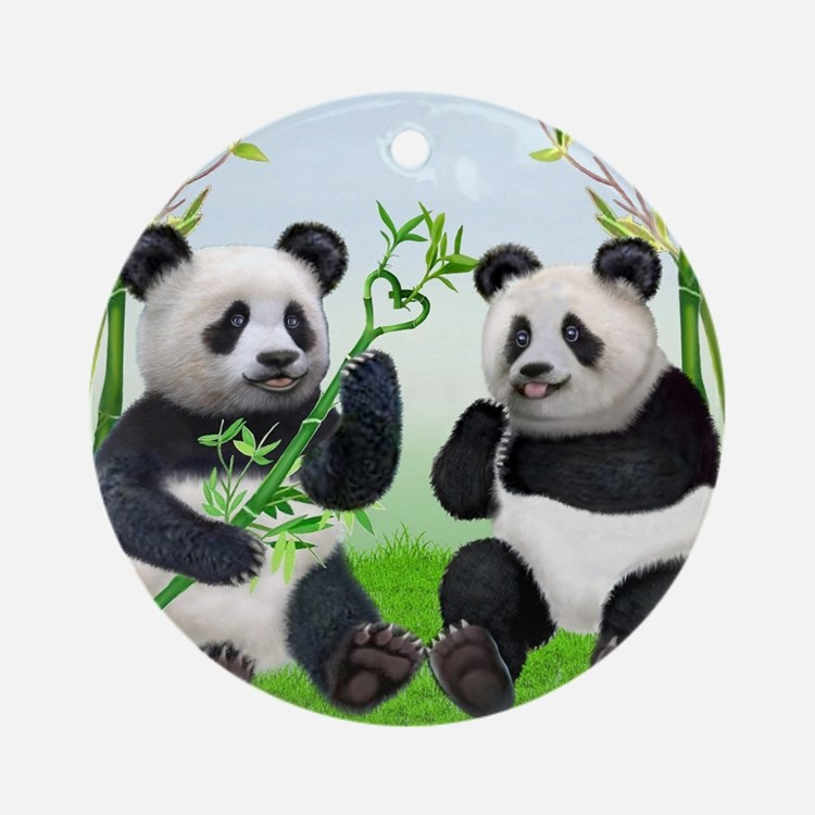 LOVING PANDAS Round Ornament