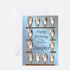 For daughter, curious owls birthday card. Greeting