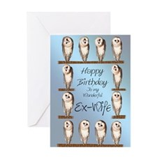 For ex-wife, curious owls birthday card. Greeting