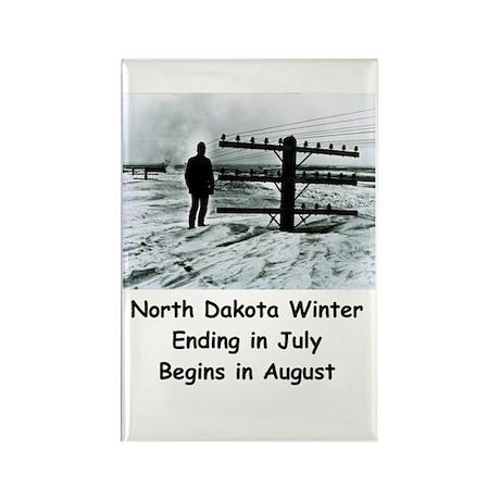 Winter In North Dakota Rectangle Magnet Magnets