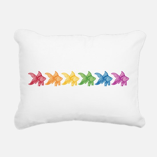 Rainbow Goldfish Rectangular Canvas Pillow