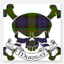 "Murray Tartan Skull Square Car Magnet 3"" x 3"""