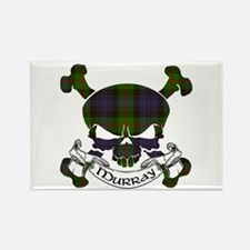 Murray Tartan Skull Rectangle Magnet
