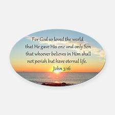 JOHN 3:16 Oval Car Magnet