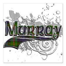 "Murray Tartan Grunge Square Car Magnet 3"" x 3"""