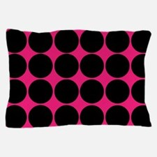 Black Dots on Pink Pillow Case