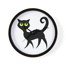 Black Cat w/Green Eyes Wall Clock