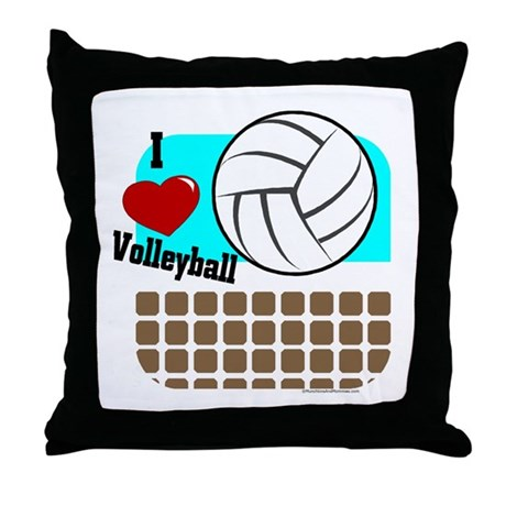 I Love Volleyball Throw Pillow