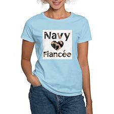 Navy Fiancee Heart Camo T-Shirt