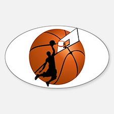 Slam Dunk Basketball Player w/Hoop on Ball Decal