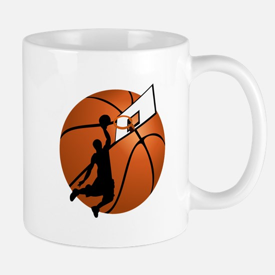 Slam Dunk Basketball Player w/Hoop on Ball Mugs