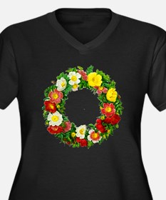 Rose Wreath Women's Plus Size V-Neck Dark T-Shirt