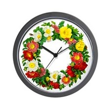 Rose Wreath by Redoute Wall Clock