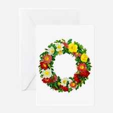 Rose Wreath by Redoute Greeting Card